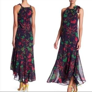 Just Taylor Maxi Halter Botanical Flower Dress 0
